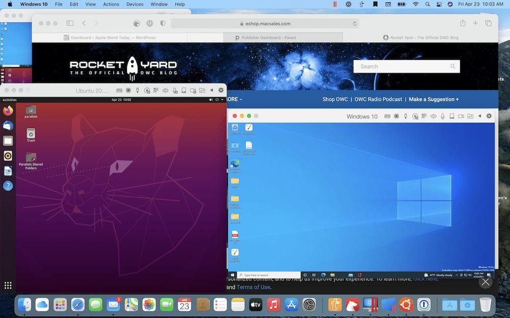 macOS, Windows 10, and Ubuntu Linux running under Parallels Desktop 16.5
