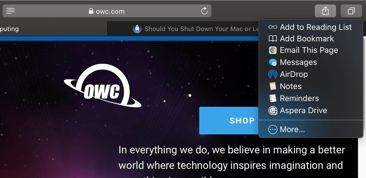 macOS Safari share menu