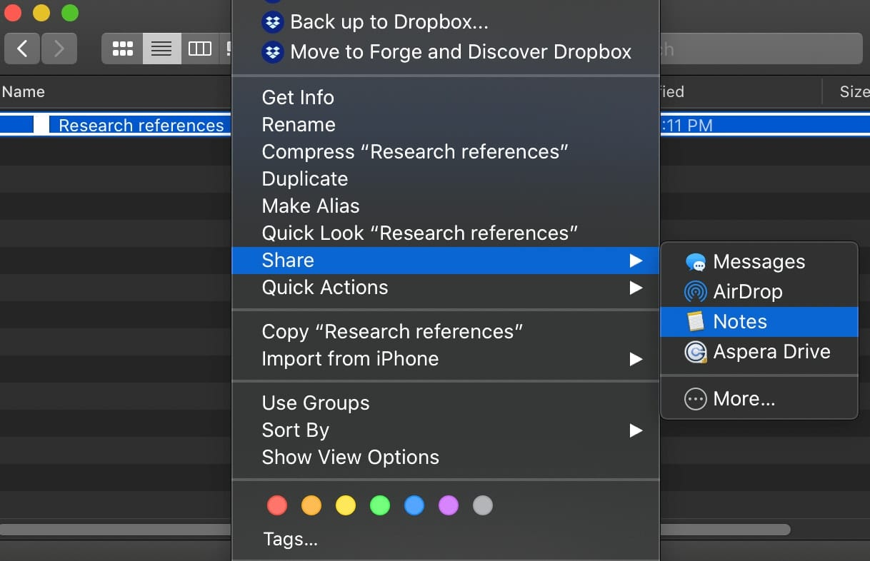 macOS Finder window showing notes share menu