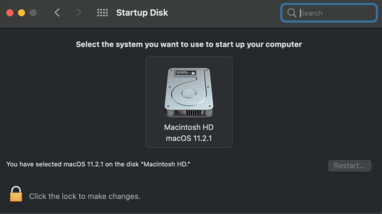 macOS Startup Disk selector