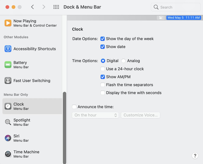 The Dock & Menu Bar System Preference: Where the menu bar clock controls are hidden