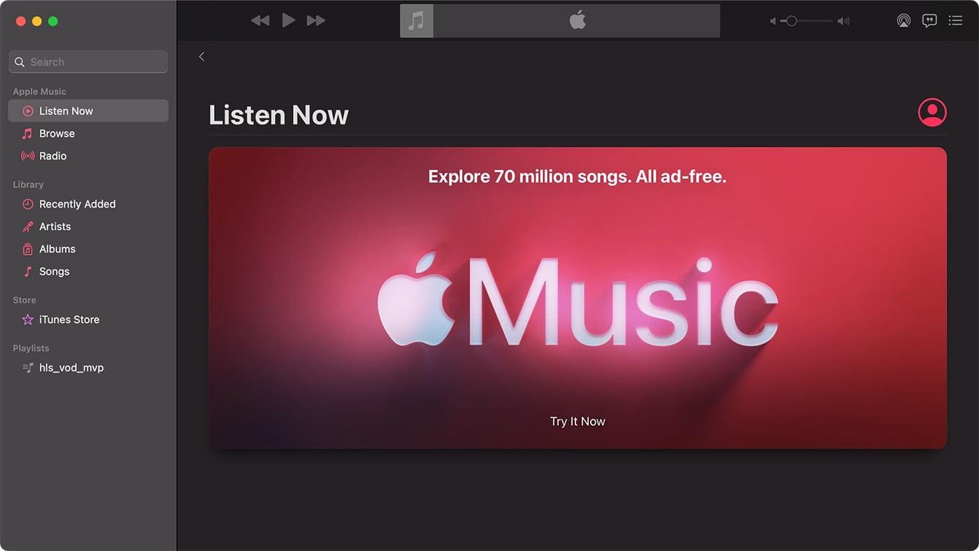 Apple Music app on a Mac