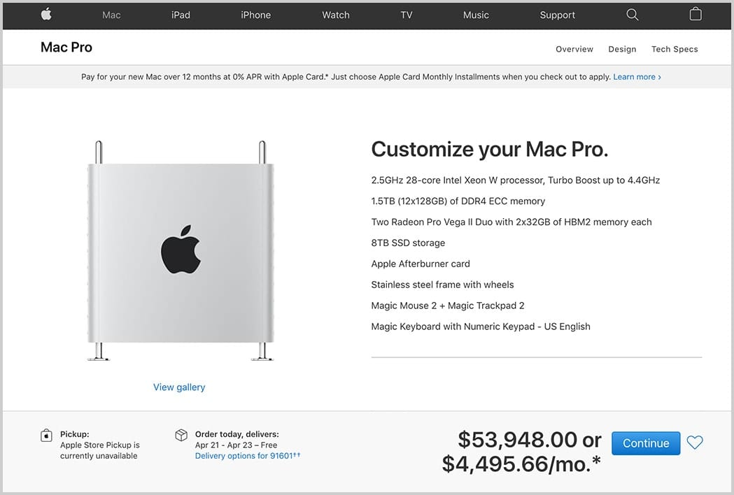 The customize your Mac Pro page from Apple