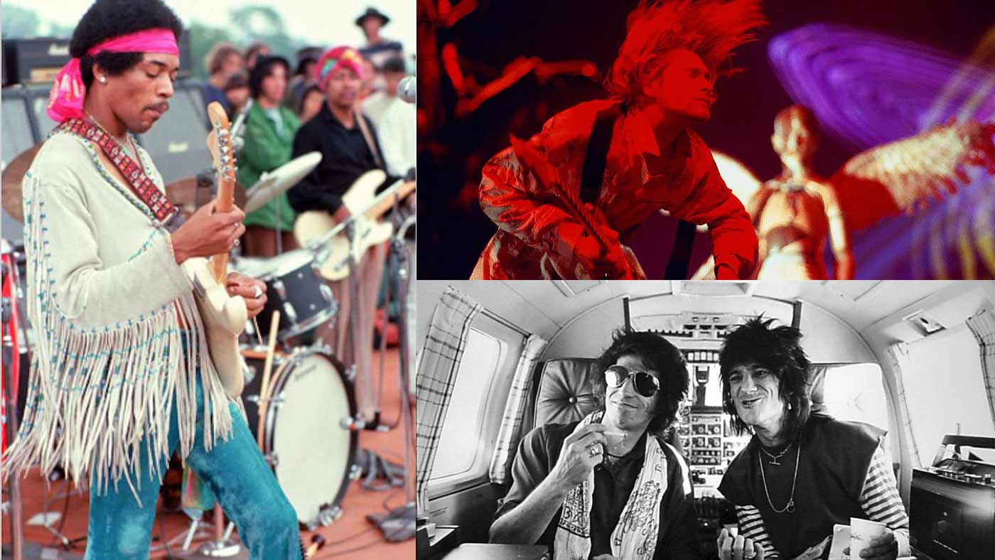 Jimi Hendrix, Kurt Cobain, Ron Wood, and Keith Richards - photographer Henry Diltz