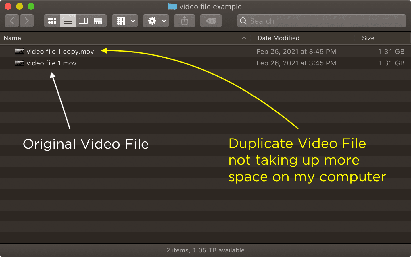 Duplicating an APFS file doesn't take up any more space.