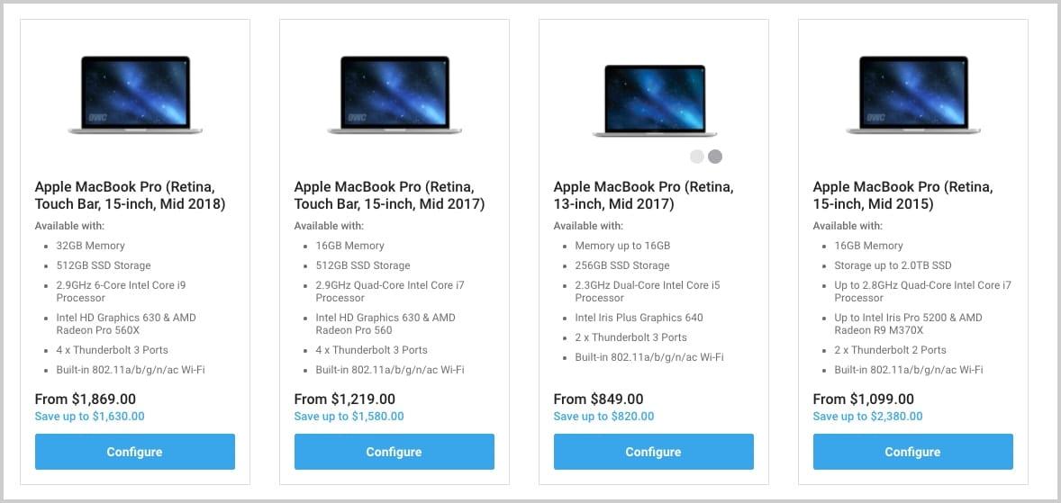 MacSales.com MacBook Pro landing page - great used mac for video editors