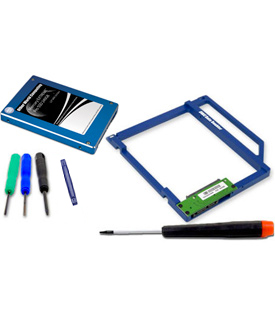 Disque 115Go, cadre pour remplacer le DVD et outils